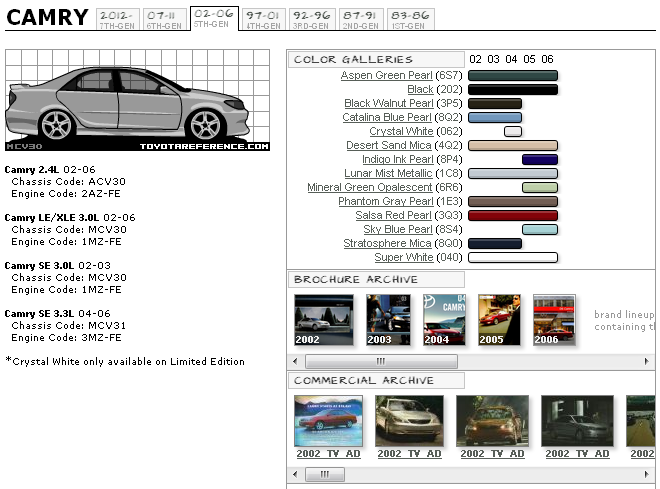 Toyota Camry Paint Codes and Galleries, Brochure and Commercial ...