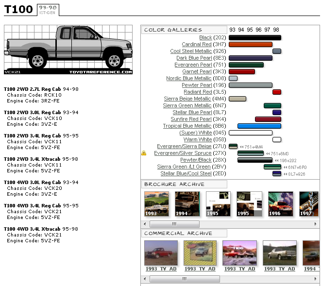 toyota t100 color \u0026 spec chart yotatech forumstoyota t100 color \u0026 spec chart
